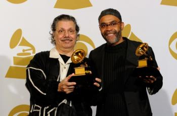Musicians Chick Corea (L) and Kenny Garrett (R) pose with Best Jazz Instrumental Album, Individual or Group award for 'Five Peace Band - Live' in the press room during the Grammy Awards on Jan. 31, in Los Angeles.  (Kevork Djansezian/Getty Images)