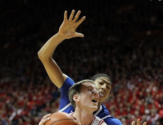 Somehow Cody Zeller (40) got past Anthony Davis (towering above) and the Kentucky Wildcats Saturday. (Andy Lyons/Getty Images)