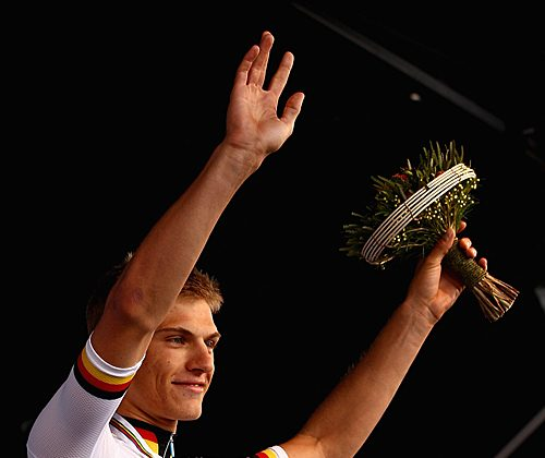 Marcel Kittel celebrates on the podium after the Men's Under 23 Time Trial at the 2010 UCI Road World Championships. Kittel won Stage Two of the Dreidsaaage de Panne March 28, 2012. (Quinn Rooney/Getty Images)