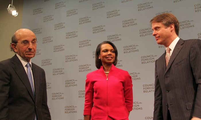 (L to R) Joel Klein, CEO of education at News Corporation, with former Secretary of State Condoleezza Rice and Terry Moran, anchor for Nightline, at the launch of a report identifying failings in U.S. education as a national security risk. (Shar Adams/The Epoch Times)