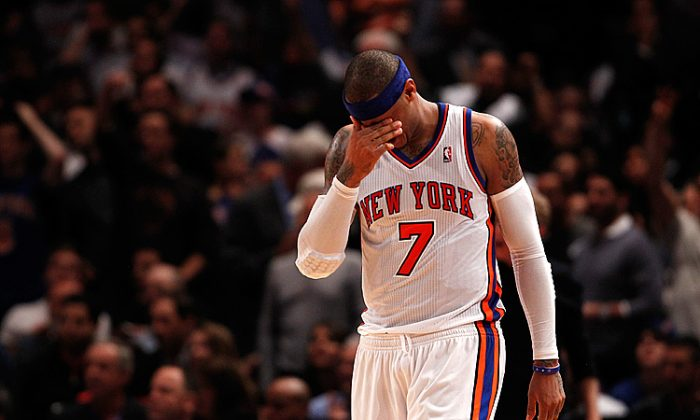 The Knicks lost Thursday night for the 13th straight time in the NBA Playoffs, dating back to 2001. (Jeff Zelevansky/Getty Images)