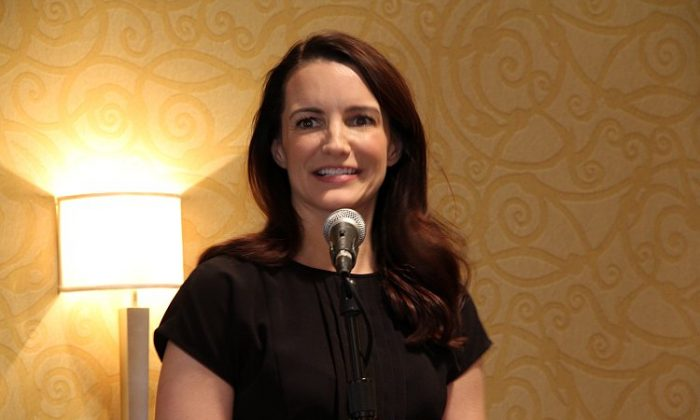 Sex and the City's, Kristin Davis,an Oxfam global ambassador gave welcoming remarks at the Sisters on the Planet, International Women's Day event. (Shar Adams/The Epoch Times)