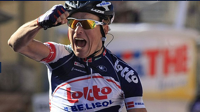 Lars Bak of Lotto-Belisol attacked the break in the final 1.7 km and won Giro d'Italia Stage 12 by 11 seconds. (lottobelisol.be)