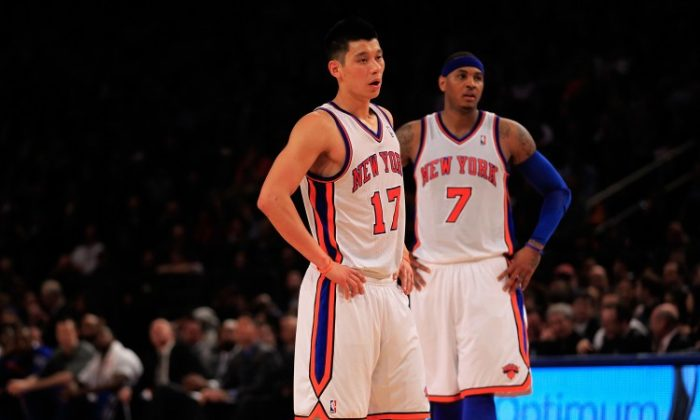 With Baron Davis out the Knicks may ask either Jeremy Lin (L) or Carmelo Anthony to play a few minutes at point guard. (Chris Trotman/Getty Images)