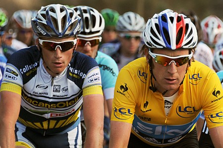 Bradley Wiggins of Sky (R) and Lieuwe Westra of Vacansoleil (L) ride during Stage Sevenof the Paris-Nice cycling race. (Pascal Pavani/AFP/Getty Images)