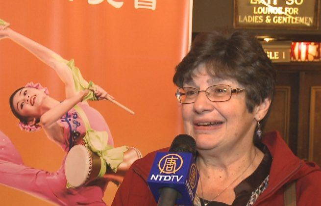 Loretta Shaffer shares her Shen Yun experience after the performance in Columbus. (Courtesy of NTD Television)
