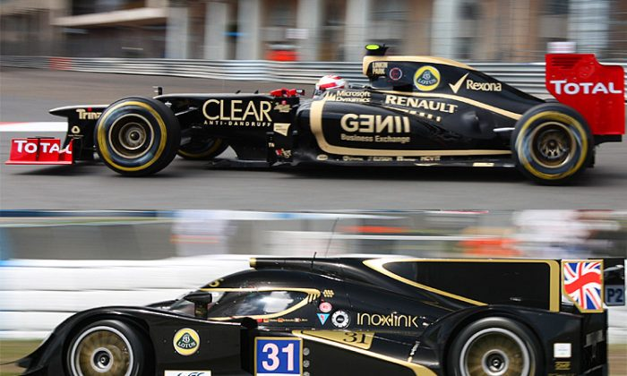 Come 2014, the Lotus F1 car (top) might share an engine with the Lotus WEC P2 sports car. LOTUS F1—(Patrice Coppee/AFP/Getty Images); LOTUS P2—(James Fish/The Epoch Times)