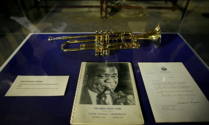 Louis Armstrong's trumpet is on display at the Capitol during Black History Month.(Courtesy of The Executive Chamber)