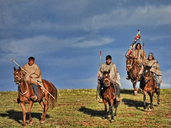 GUARDING ANCESTRAL LAND: Mapuche natives on horseback guard their land in the village of Temucuicui in Temuco, Chile, November 2009. The Mapuche are fighting for the rights to their ancestral lands, which they feel is their identity. (Martin BernettiAFP/Getty Images )