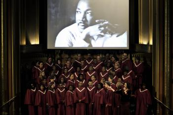 A HYMN IN HONOR: The Marble Community Gospel Choir sang gospel at the Marble Collegiate Church in Manhattan on Sunday morning to honor civil rights leader Dr. Martin Luther King Jr.  (Phoebe Zheng/The Epoch Times)