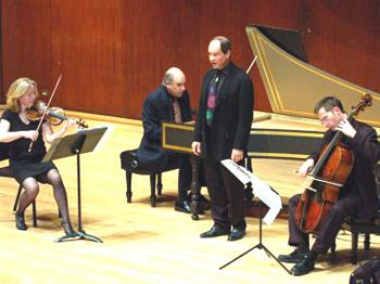 Music of the Spheres Society in rehearsal for a concert in Dallas in December 2008. The concert was performed on Baroque instruments: (L-R) Stephanie Chase, Todd Crow (harpsichord), Drew Minter (countertenor), and James Wilson (cello). (Courtesy of Stephanie Chase)