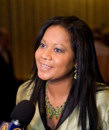 Member of Parliament Ève-Mary Thaï Thi Lac at the 'Spectacular' in Montreal (The Epoch Times)