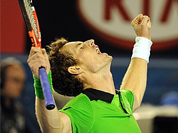 Andy Murray celebrates beating David Ferrer in their men's singles semifinal match at the Australian Open tennis tournament. (William West/AFP/Getty Images)