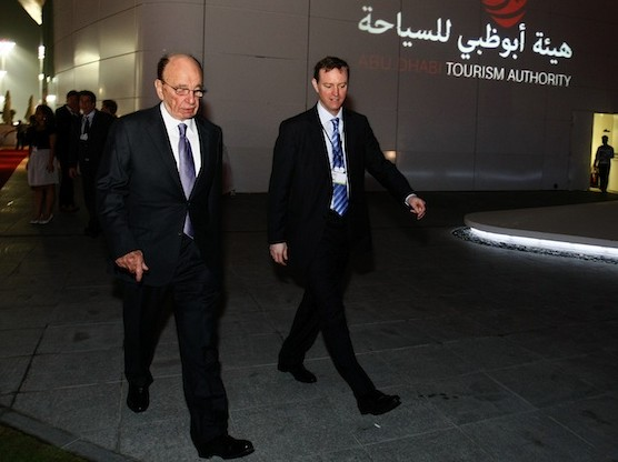 Rupert (L) and James Murdoch, Chairman & CEO and Chairman & CEO of Europe and Asia of News Corporation, seen walking to the gala dinner for the inaugural Abu Dhabi Media Summi March 10, 2010 in United Arab Emirates. (Ana-Bianca Marin/Getty Images)