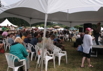 The main stage at the Organic Islands Festival. (Andrea Hayley/The Epoch Times)