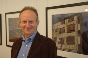 Mark Tedeschi QC with some of the works from his current exhibition 'Still life, no fruit'.  (The Epoch Times)