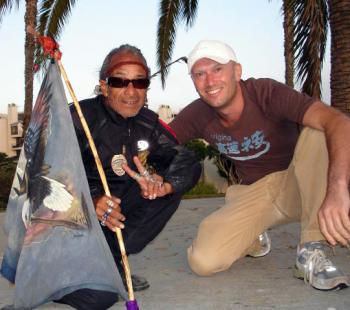 Martin-Dunkerton, (Right) with Soaring Eagle, a spiritual leader of the homeless in Santa Monica, a supporter of THE DOLPHIN PROJECT. (Images courtesy of The Prosperity Foundation)