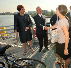 Mayor Michael Bloomberg and City Council Speaker Christine Quinn announced on Monday the East River Ferry had served 1 million passengers in just over a year