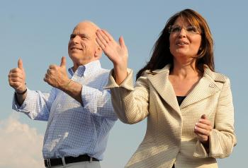 MCCAIN AND PALIN: Republican presidential candidate John McCain (L) and his running mate Alaska Governor Sarah Palin (R) attend a campaign rally in O'Fallon, Missouri on Aug. 31. (Robyn Beck/AFP/Getty Images)