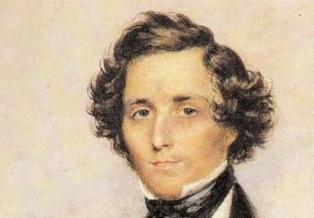 FELIX MENDELSSOHN BARTHOLDY: The composer at the age of 30 pictured in London in a watercolor painting by James Warren Childe (detail), 1839. ()