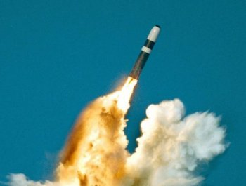 A U.S. Trident II, or D-5 missile, which when deployed carries a W-88 nuclear warhead, is test fired in this file photo. (AFP/Getty Images)