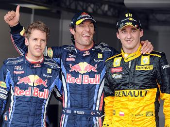 (From L) Sebastian Vettel, Mark Webber and Robert Kubica took the top three spots on the grid for the Monaco Formula One Grand Prix. (Pascal Guyot/AFP/Getty Images)