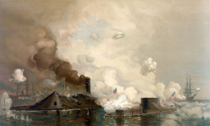 'The Monitor and Merrimac: The First Fight Between Ironclads,' a chromolithograph depicting the Battle of Hampton Roads. The second day of the naval battle—arguably the most important of the Civil War—occurred 150 years ago today. The battle signified the end for wooden warships, which proved no match for the metal exteriors of the new Ironclads. (Library of Congress/Public Domain)