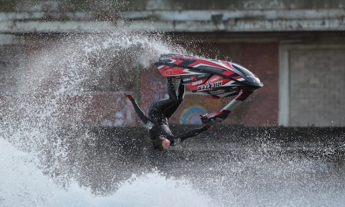 British National Freestyle Jet Ski Champion Jack Moule performs a stunt during The London Boat Show in London, England on January 6. (Peter Macdiarmid/Getty Images)