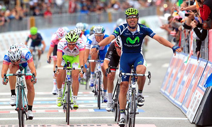Movistar's Francesco Ventoso (R) beats Fabio Felline (L) and Damiano caruso (2L) across the the finish line. (movistarteam.com)