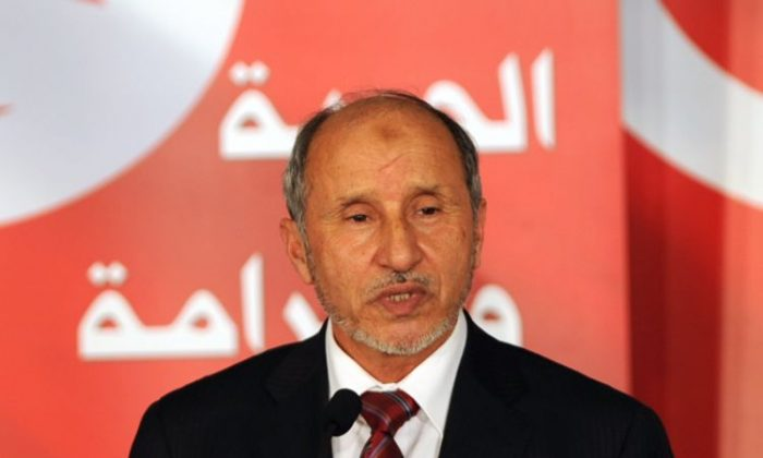 Libyan Prime Minister Mustapha Abdel Jalil delivers a speech during a ceremony on Jan. 14, in Tunis. The Prime Minister said on Wednesday that his government will do almost anything to stop eastern tribal leaders from creating a semi-autonomous region. (Fethi Belaid/AFP/Getty Images)
