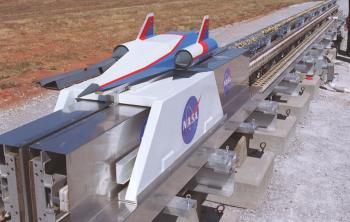 HORIZONTAL LAUNCH: Technologies to push a spacecraft down a long rail have been tested in several settings, including this Magnetic Levitation (MagLev) System evaluated at NASA Marshall Space Flight Center (NASA/Artist concept)