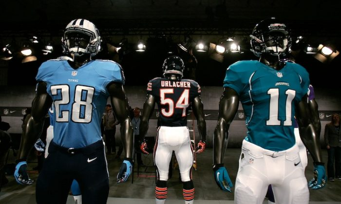 The NFL will be wearing uniforms made by Nike in 2012. (Mike Lawrie/Getty Images)
