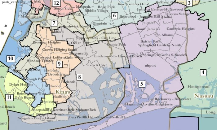 Part of a redistricting map drawn by federal Magistrate Judge Roanne L. Mann that shows new lines in Queens and Brooklyn. (Courtesy of United States District Court for the Eastern District of New York)