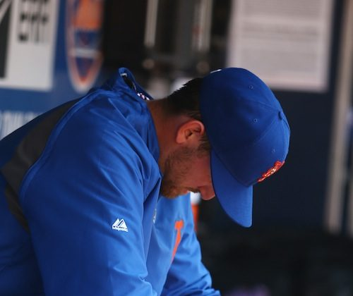 Jonathon Niese allowed just two hits but walked five batters in five innings. (Al Bello/Getty Images)