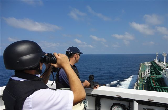 Somali pirates in the Gulf of Aden are intercepted by naval officers. Improved security has had some impact on reducing piracy. This year alone, to March 19, there were 87 attacks by pirates, but only nine were successful, according to Save our Seafarers. (Courtesy of Save Our Seafarers)