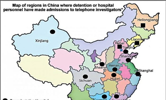 Map of China showing regions where staff admitted during phone calls that organ harvesting from Falun Gong practitioners was taking place. ('Bloody Harvest' report, Kilgour-Matas)