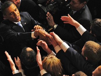 SOTU SPEECH: President Barack Obama is greeted following his State of the Union address on Jan. 25, at the Capitol.  (Jim Watson/Getty Images )
