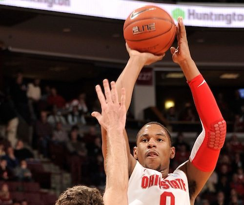 Ohio State's Jared Sullinger (0) ranked third in the conference in scoring (17.1 a game) and second in rebounding (9.6). (Jamie Sabau/Getty Images)