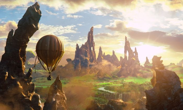 "Oscar Diggs's (James Franco) hot-air balloon sails over the landscape of the Land of Oz in the fantasy-adventure ""Oz the Great and Powerful."" (Courtesy of Disney Enterprises, Inc.)"