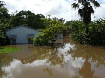 Queensland floods: The Stevens' rental property in Indooroopilly is currently sitting in one metre of water, after it peaked at two metres last night. (Courtesy of Rebecca Stevens)