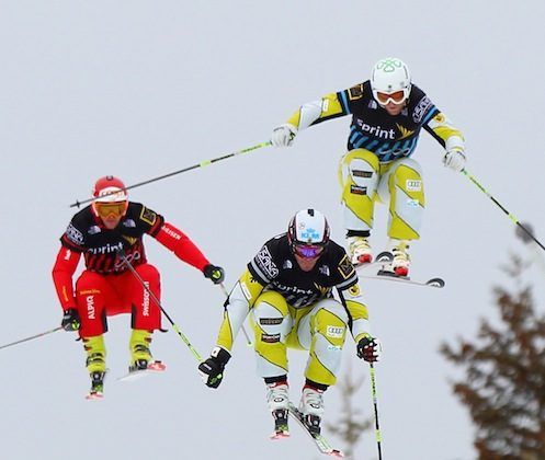 Canada's Chris Del Bosco (C) flies to the finish line ahead of fellow countryman Brady Leman (R) and Switzerland's Amin Niederer (L) win the Men's Sprint U.S. Grand Prix Ski Cross Finals Saturday at The Canyons Ski Resort in Park City, Utah. (Doug Pensinger/Getty Images)