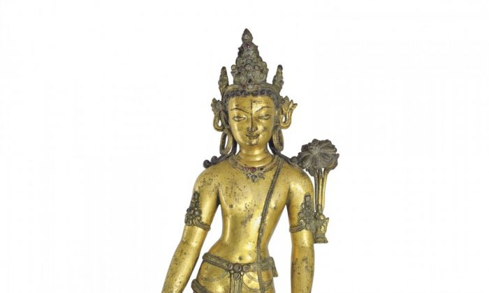 An important gilt bronze figure of Padmapani Nepal, 13th century. Presale estimate $250,000 to $350,000; sold for $2,490,500. (Courtesy of Christie's)