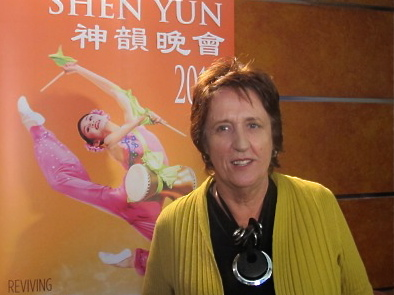 Pam Morpeth talks about her Shen Yun Performing Arts' experience after the matinee on Sunday. (Tahnia Smith/The Epoch Times)