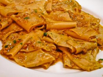 Housemade papardelle with veal ragout and fresh pesto. (Nadia Ghattas/The Epoch Times)