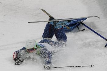 Patrick Deneen after his spectacular crash on the final jump of the men's mogul on Sunday. (Evan Ning/The Epoch Times)