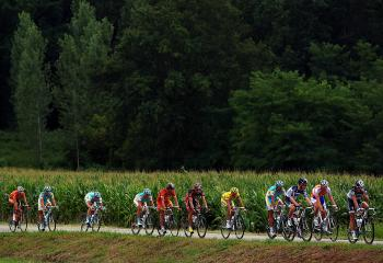 The peloton rides through the French countryside on Stage 18 of the 2010 Tour de France, from Salies-de-Bearn to Bordeaux. (Bryn Lennon/Getty Images)