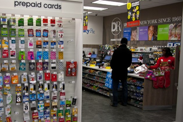 An unattended gift card rack at a Duane Reade in New York City. (Ivan Pentchoukov/The Epoch Times)