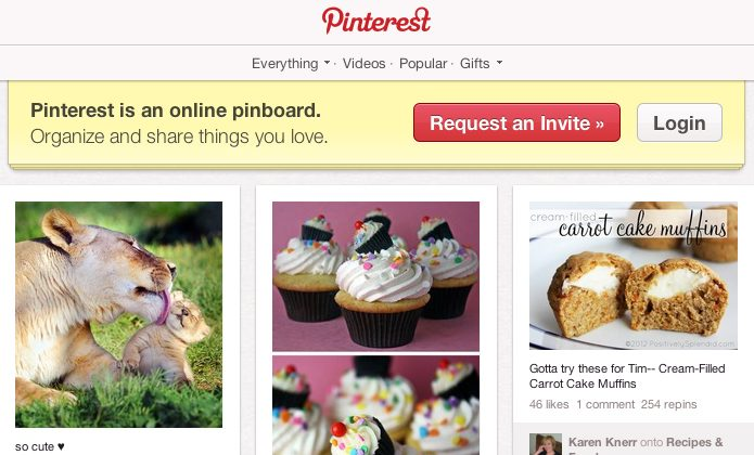 Pinterest's homepage is seen on April 8. (Screenshot via The Epoch Times)