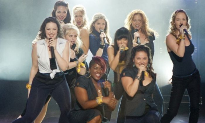 (L-R) Shelly Regner, Alexis Knapp, Rebel Wilson, Anna Camp, Ester Dean, Anna Kendrick, Hana Mae Lee, Wanetah Walmsley, Brittany Snow, and Kelley Alice Jakle take the stage in the musical comedy 'Pitch Perfect.' (Peter Iovino/ Universal Studios)