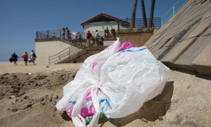 The wind blows a plastic bag around the beach near the Manhattan Beach Pier August 21, 2008 in Manhattan Beach, Calif., in this file photo. Los Angeles became the largest city in the country to adopt a ban on single-use plastic bags, passing the ordinance May 23.(David McNew/Getty Images)